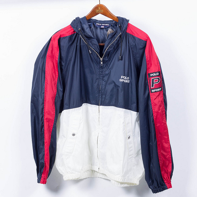 Windbreaker jacket with white, blue, and red colors