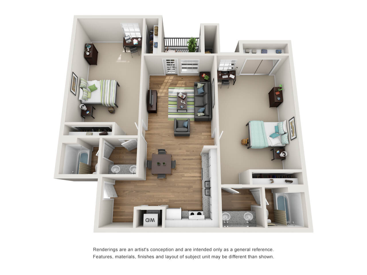 Floor plan of a two-bedroom student apartment