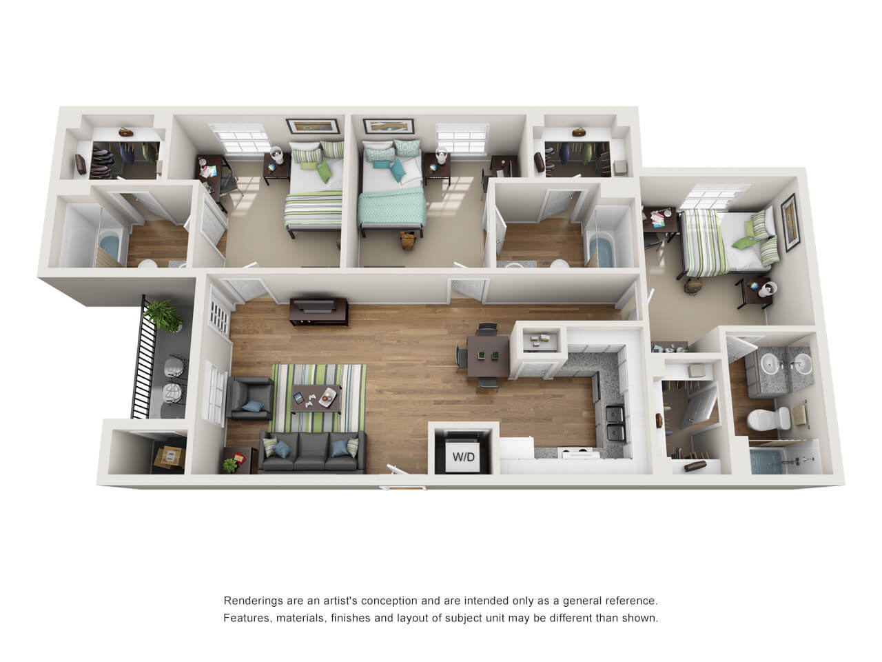 Floor plan of a three-bedroom student apartment
