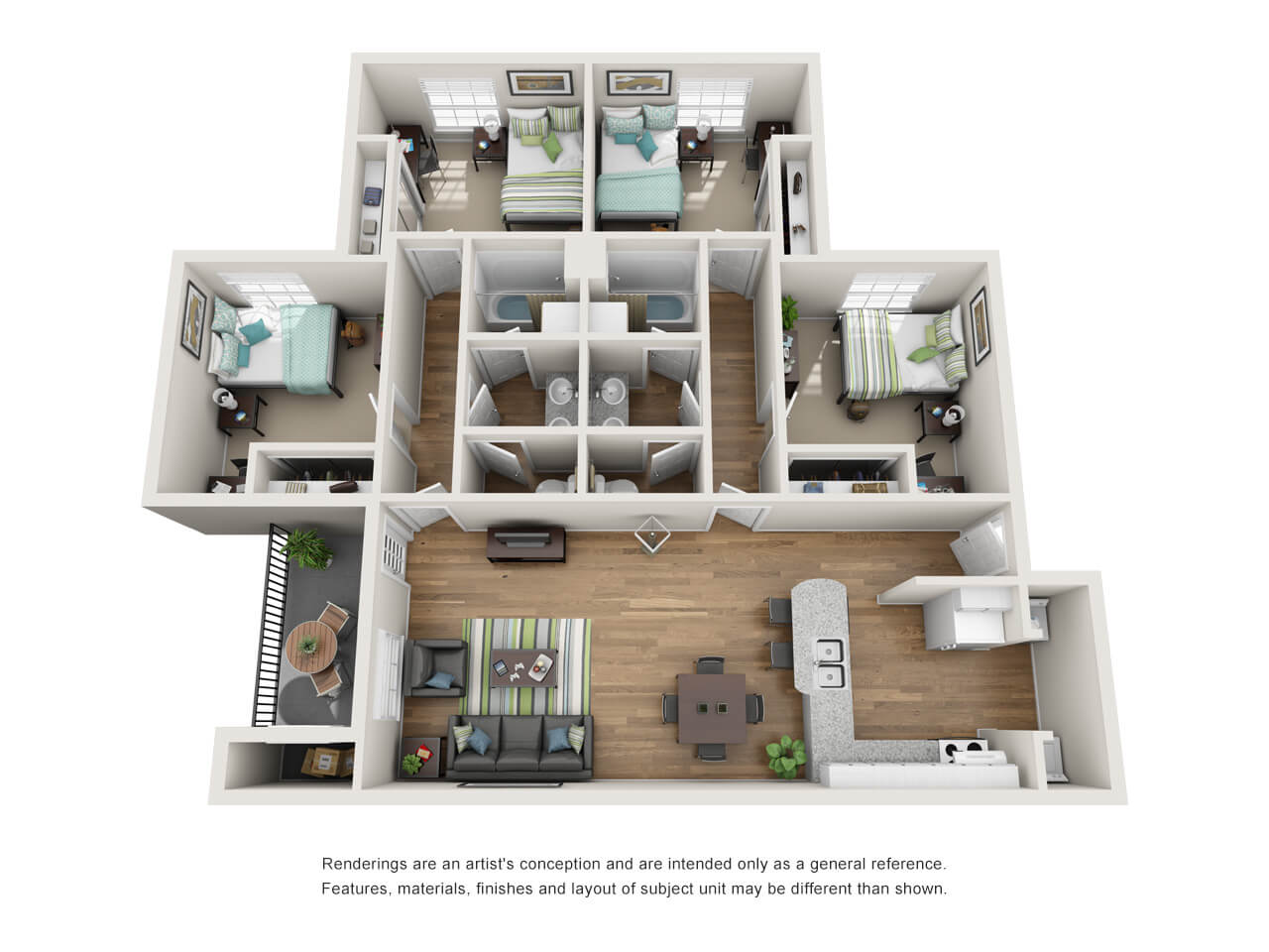 Floor plan of a four-bedroom student apartment